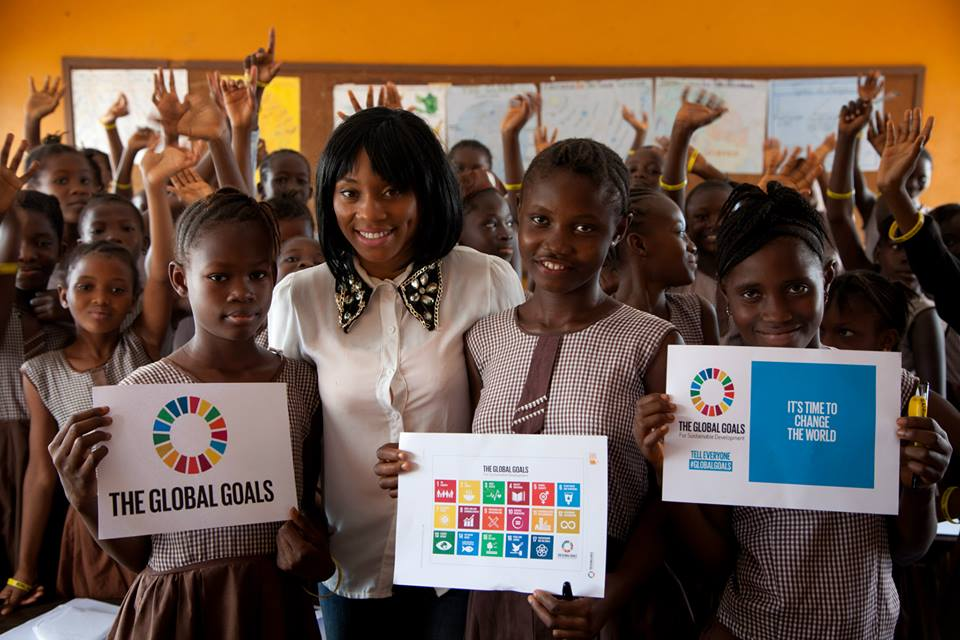 Students at a girls primary school in Sierra Leone's capital Freetown pictured after their lesson on the Global Goals, organized with the help of Unicef Sierra Leone as part of The World's Largest Lesson. The campaign aims to teach children in over 100 countries about the new Sustainable Development Goals launched at the UN General Assembly.